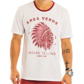 Camiseta Masculina Indian Estampada Frontal - Area Verde