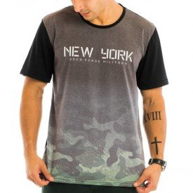 Camiseta Masculina Military Estampada Frontal - Area Verde