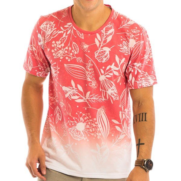 Camiseta Masculina Floral Red Total Sublimada - Area Verde