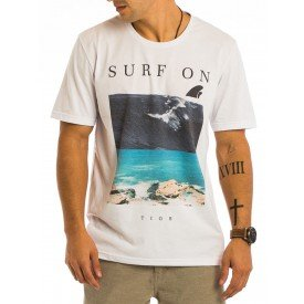 Camiseta Masculina Surf On Estampa Frontal - Area Verde