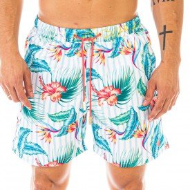 Short Masculino Estampado Hibiscus Colors - Area Verde