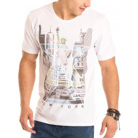 Camiseta Masculina New York Estampa Frontal Ecológica - Area Verde