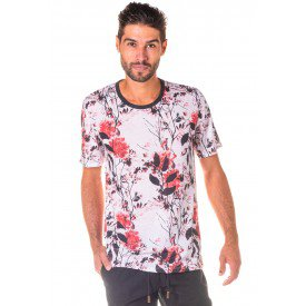 Camiseta Masculina Total Sublimada Red Flowers - Area Verde