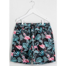 Short Masculino Estampado Flamingo Fundo Preto - Area Verde